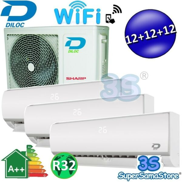 3S CLIMATISEUR WIFI 3 MULTI SPLIT DILOC 3,2+3,2+3,2Kw compresseur SHARP INVERTER
