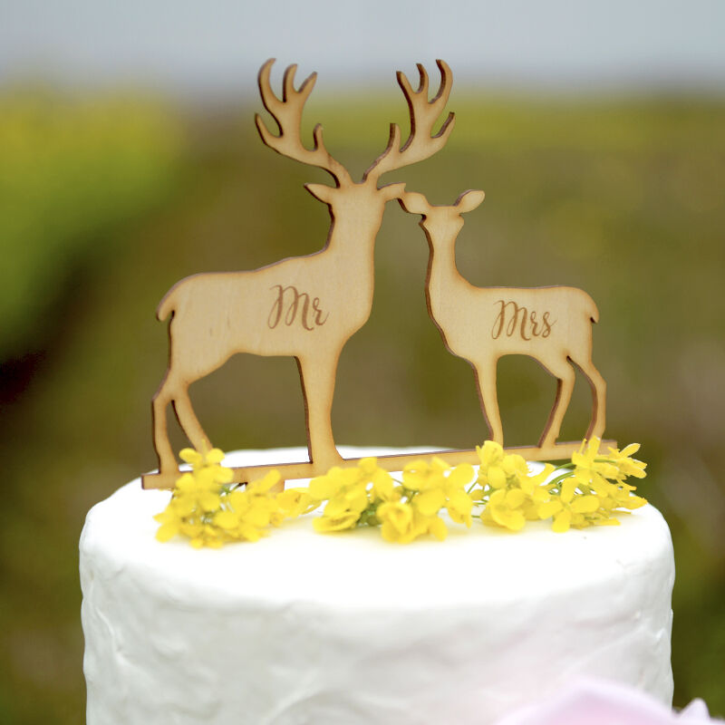 Mr & Mrs Wedding Cake Topper Rustic Laser Cut Wood Deer Cake Topper ...