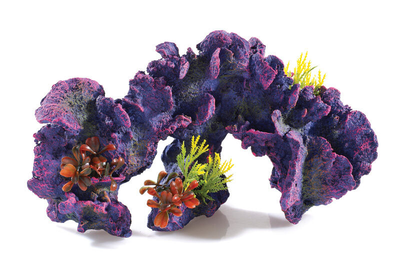 Large long purple coral reef with artificial plants for Artificial coral reef aquarium decoration uk