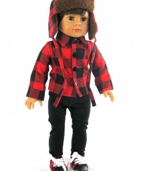 Red Plaid Carolers 18: Red Black Plaid Shirt Hat Pants Set For 18 Inch Doll