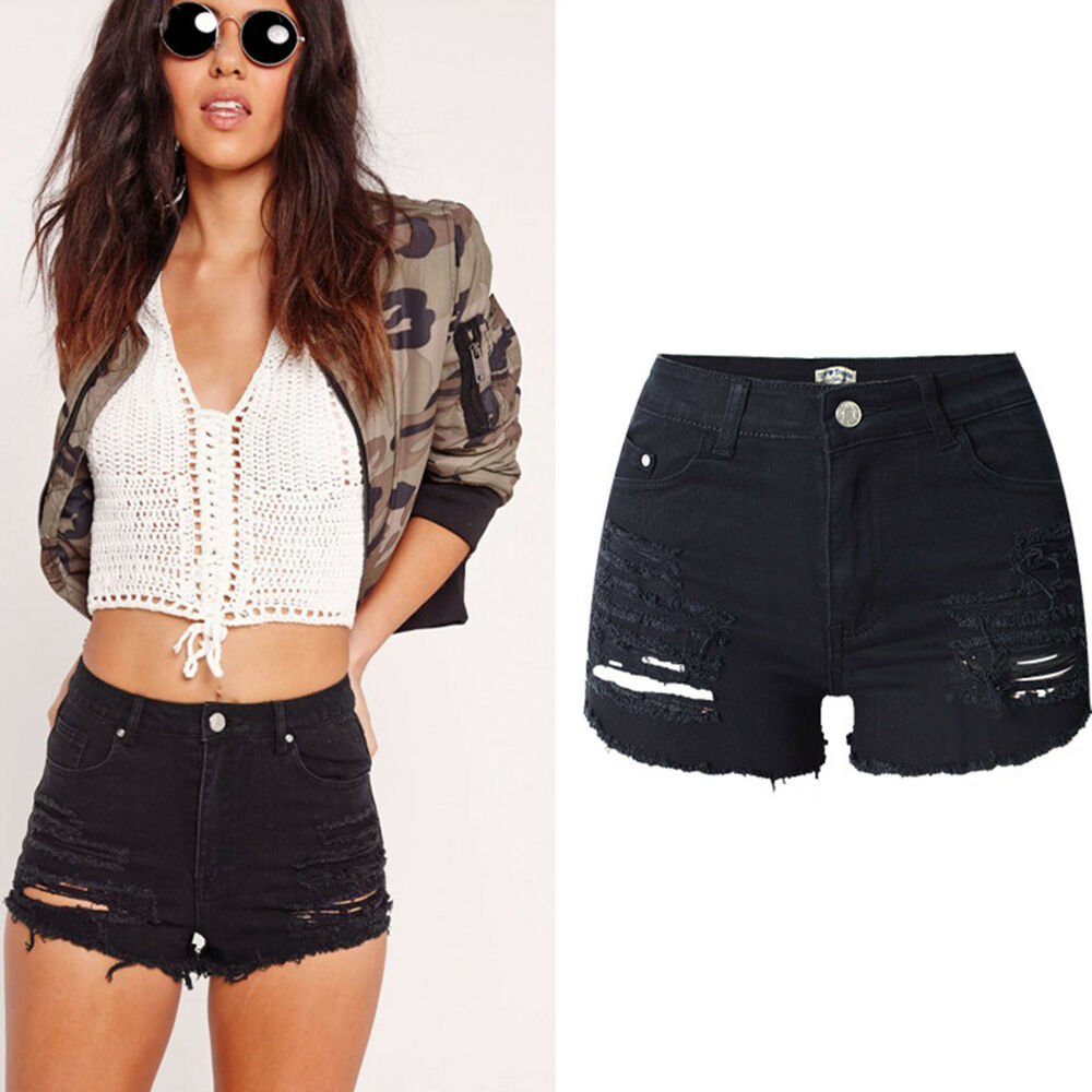 Uk womens high waisted black stretch ripped ladies denim for Women s fishing shorts