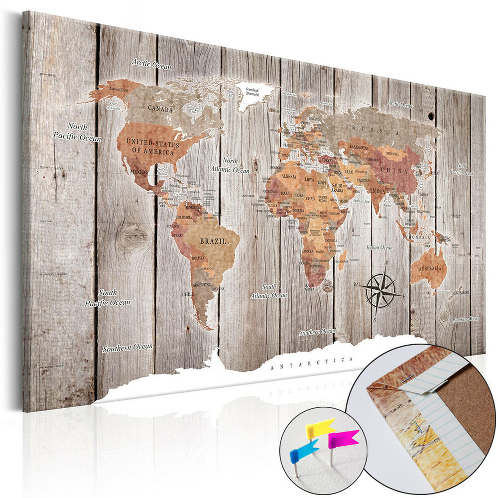 bild weltkarte pinnwand memotafel holzfaserplatte wandbild holz vintage 3 farben ebay. Black Bedroom Furniture Sets. Home Design Ideas