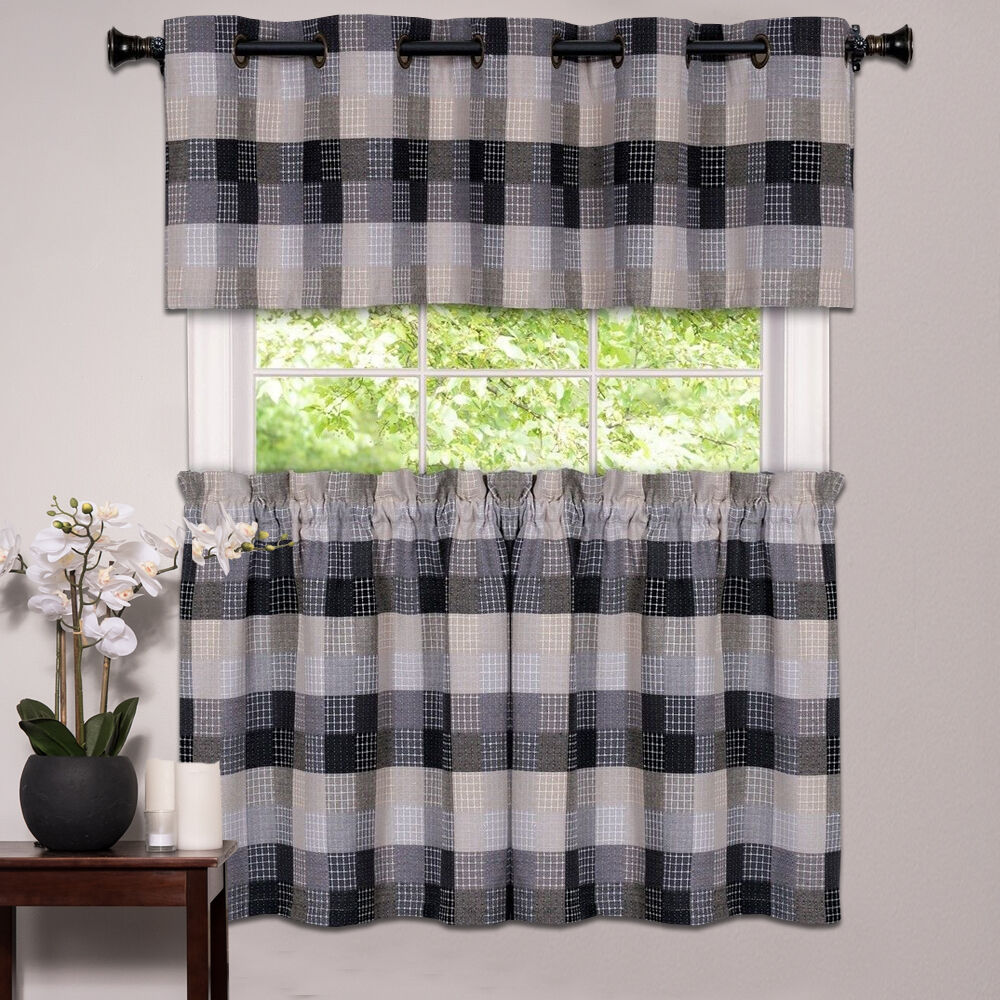 Kitchen Window Curtain Classic Harvard Checkered Tiers Or