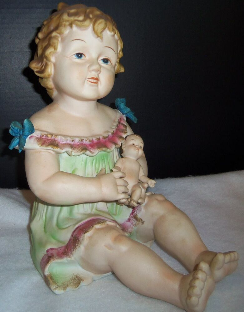 Antique German Bisque Porcelain Piano Baby Girl Amp Holding