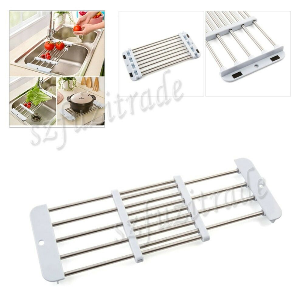 Extendable stainless kitchen sink shelves dish drainer fruit drying rack holder ebay - Kitchen sink drying rack ...