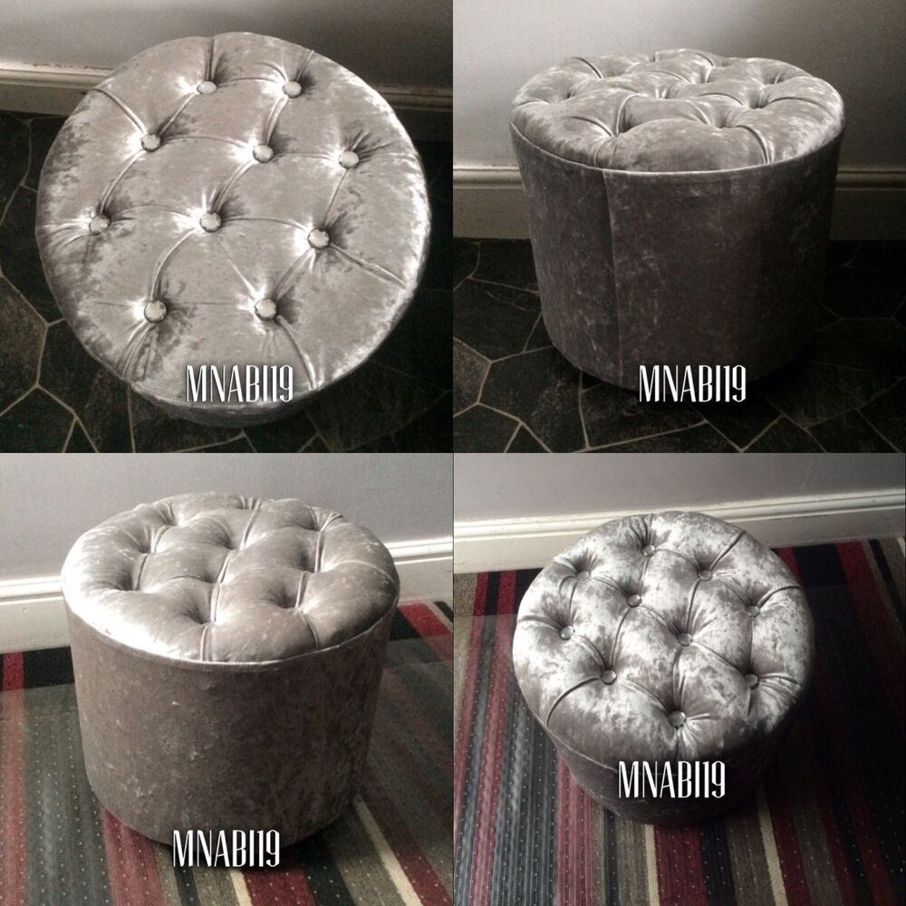 Silver Crushed Velvet Diamond Top Round Footstool Pouffe