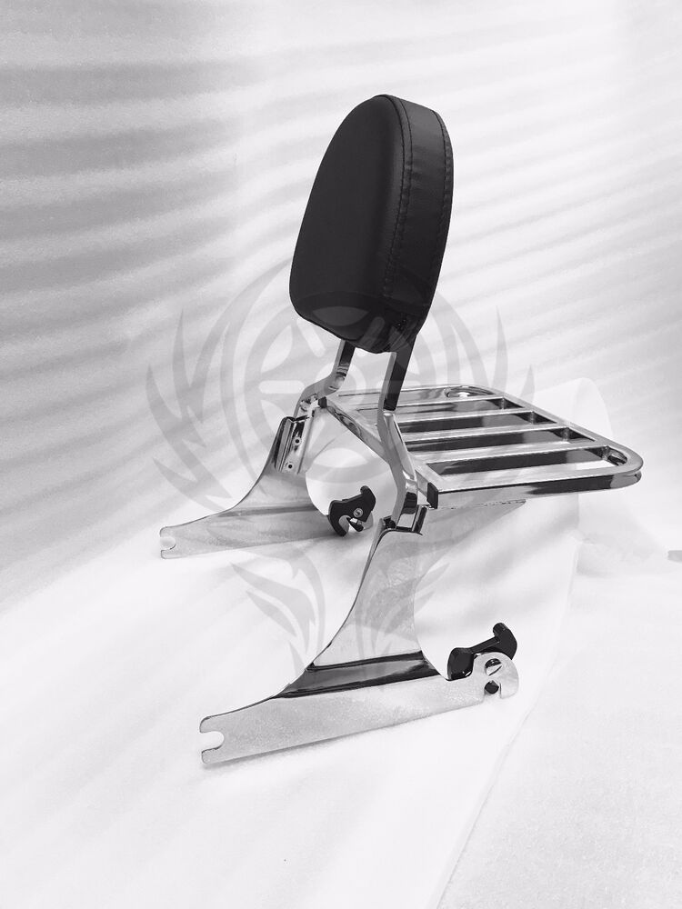Chrome Sissy Bar Backrest With Luggage Rack For Harley