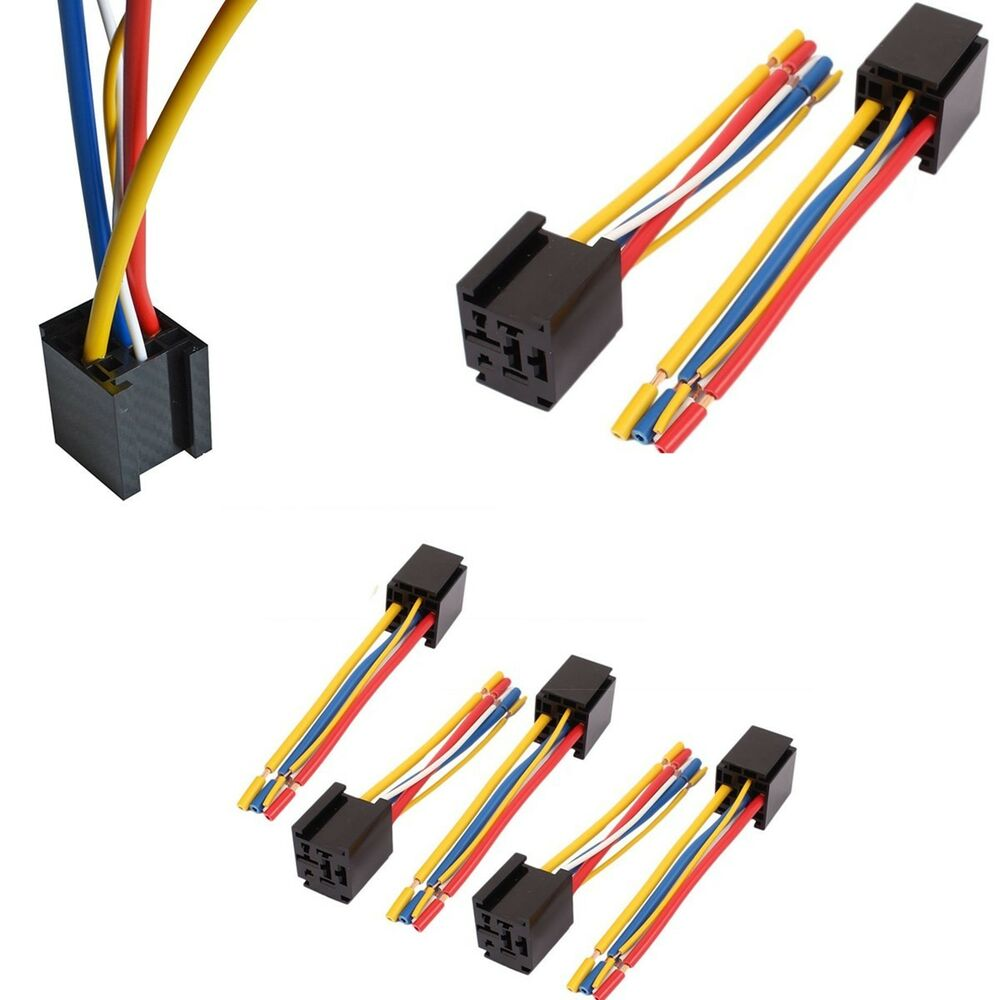 5 pin car truck wire relay socket harness connector universal 5pcs 80a 12v 24v ebay