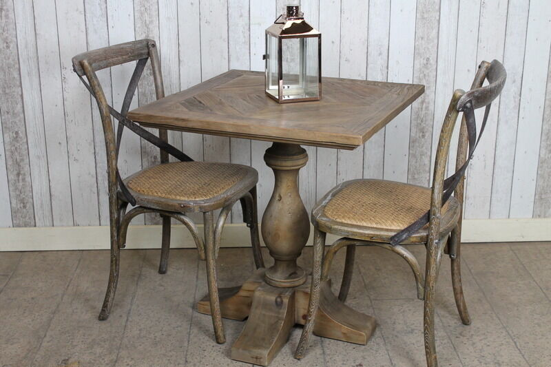 PEDESTAL BASE RESTAURANT TABLE IN RECLAIMED OAK AND ELM CAFE TABLE BAR TABLE