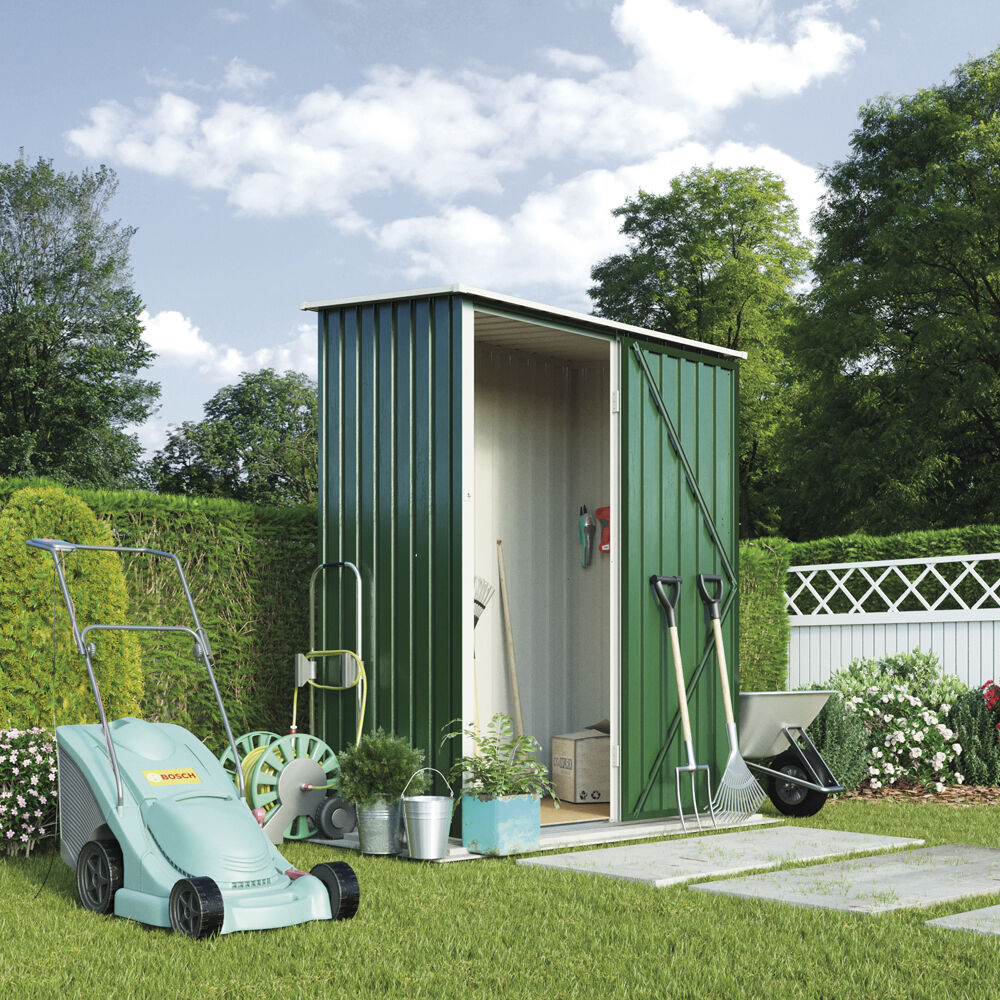 4ft x 3ft metal pent roof outdoor garden storage shed by for Garden shed tab