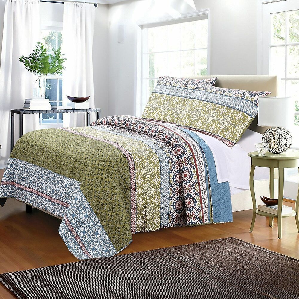 oversized mattress quilt set king size 3pc pillow sham cotton bedding spread new ebay. Black Bedroom Furniture Sets. Home Design Ideas
