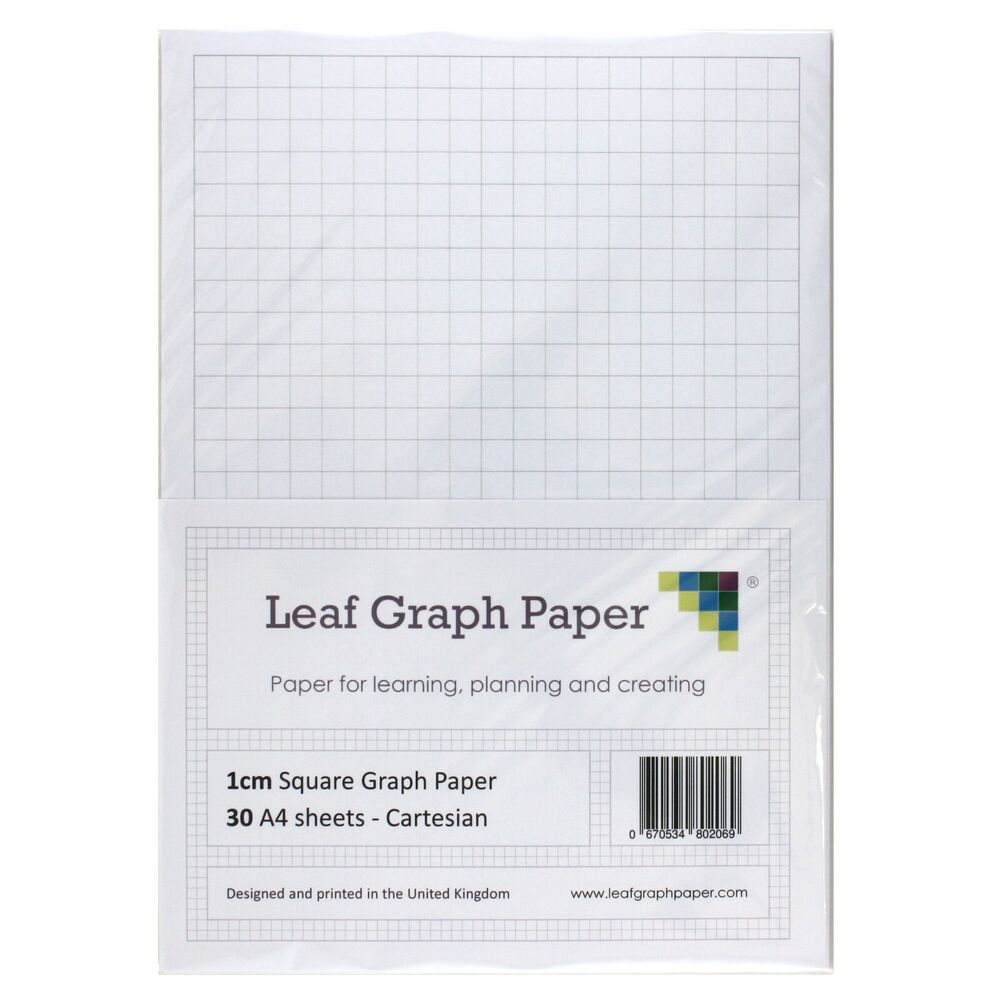 A4 Graph Paper Pack 1cm 10mm Square 30 Loose Leaf Sheets Grey