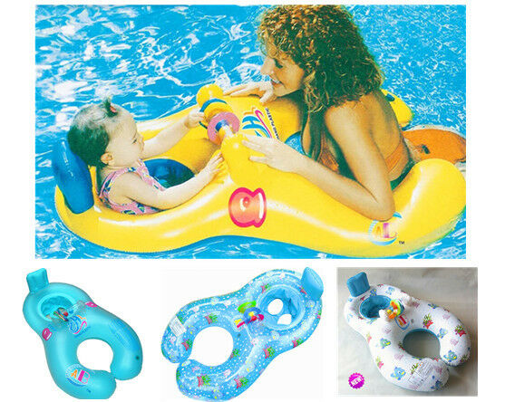 Inflatable Mother Baby Swimming Ring With Seat Floaties