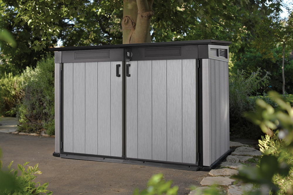 keter grande brushed shed store garden storage bike. Black Bedroom Furniture Sets. Home Design Ideas