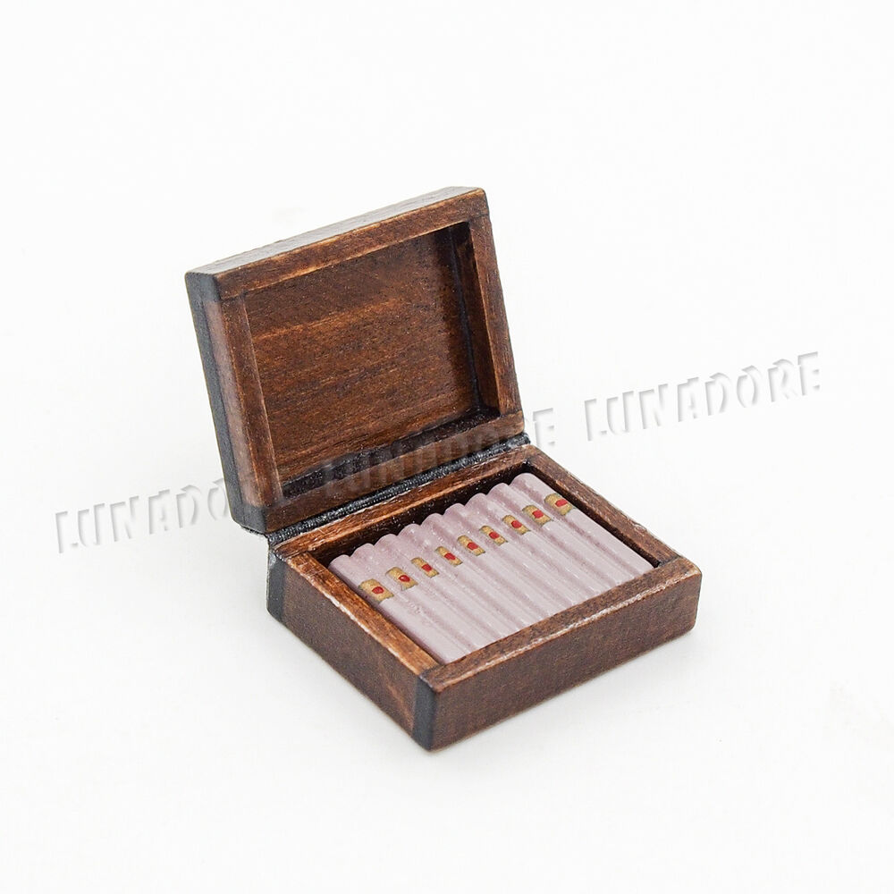 Wooden Cigar Cigarette Box Miniature Tobacco Humidor 1 12