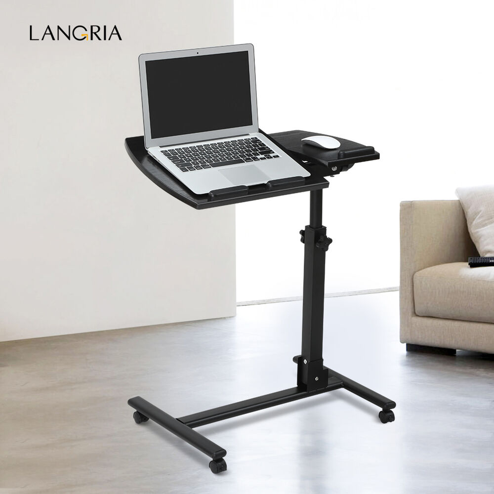 Portable rolling mobile laptop side table cart adjustable for Mobile porta pc