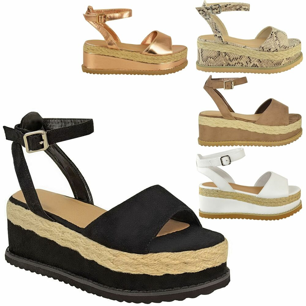 1b00b958aace WOMENS LADIES GLADIATOR FLATFORM ESPADRILLE WEDGE ANKLE STRAP SANDALS SHOES  SIZE