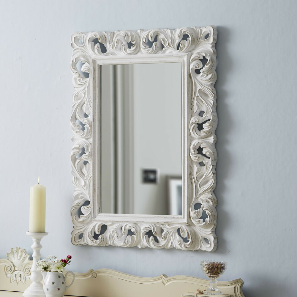 Large ornate mirror carved antique white ebay for Large white mirror