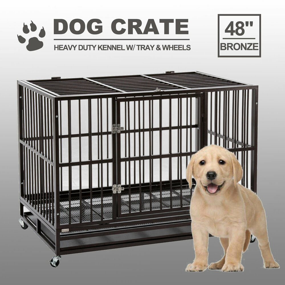 Xxl 48 Golden Heavy Duty Metal Pet Dog Cage Crate Cannel