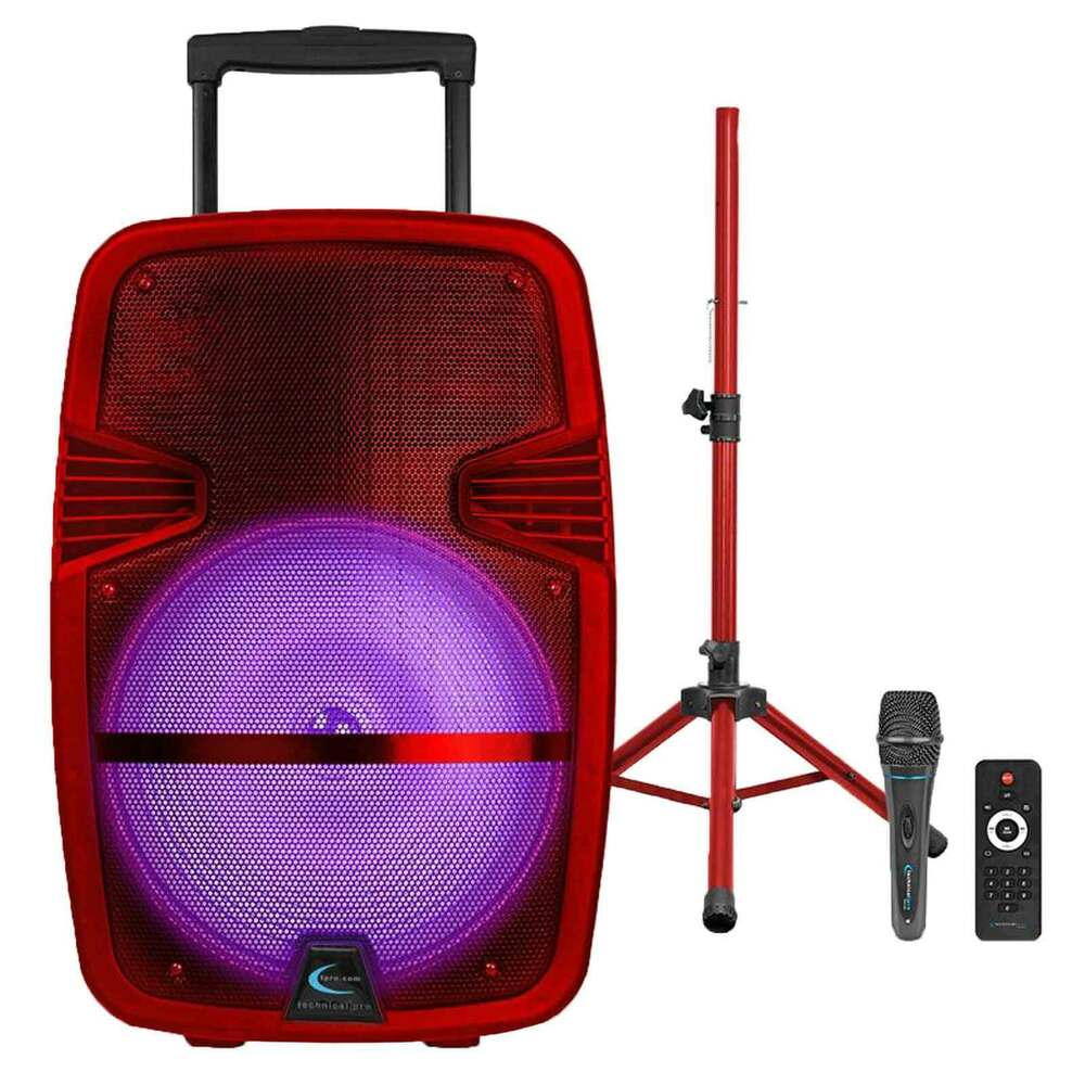 Red Rechargeable Portable LED Party Speaker W/ Bluetooth, Microphone & Tripod