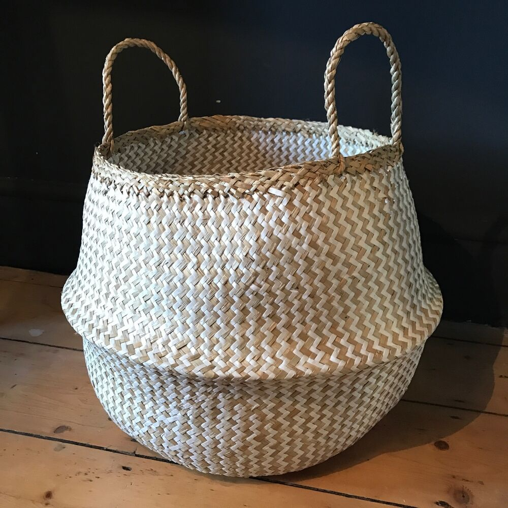 X Large White Natural Seagrass Belly Basket Zig Zag Straw