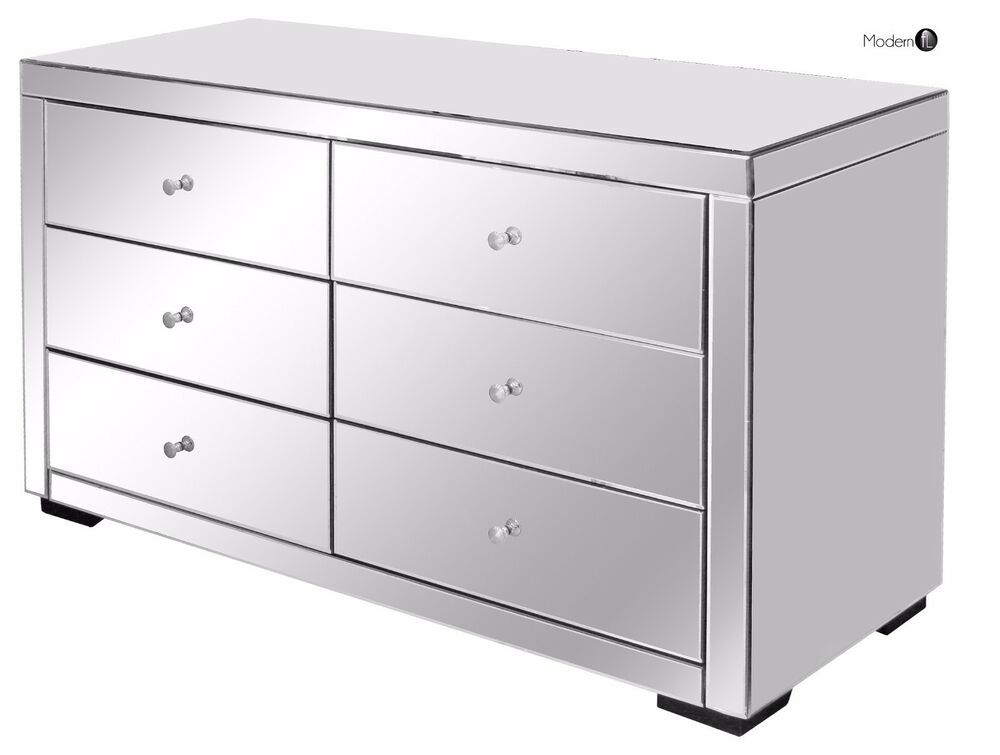 Large Mirrored Chest Of 6 Drawers Mirrored Bedroom Drawers Mirrored Furniture Ebay
