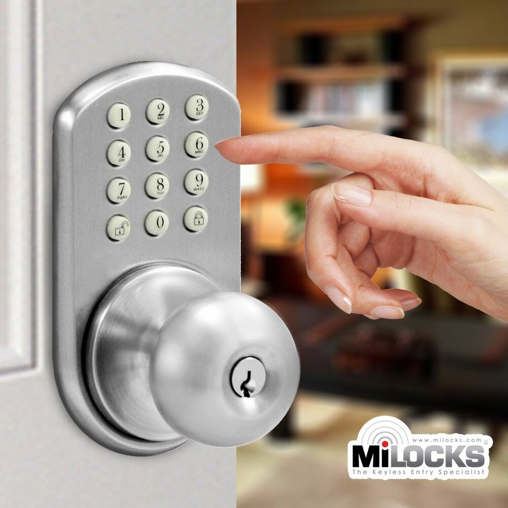 keyless door lock milocks electronic touchpad keypad entry door knob tkk 02sn ebay. Black Bedroom Furniture Sets. Home Design Ideas