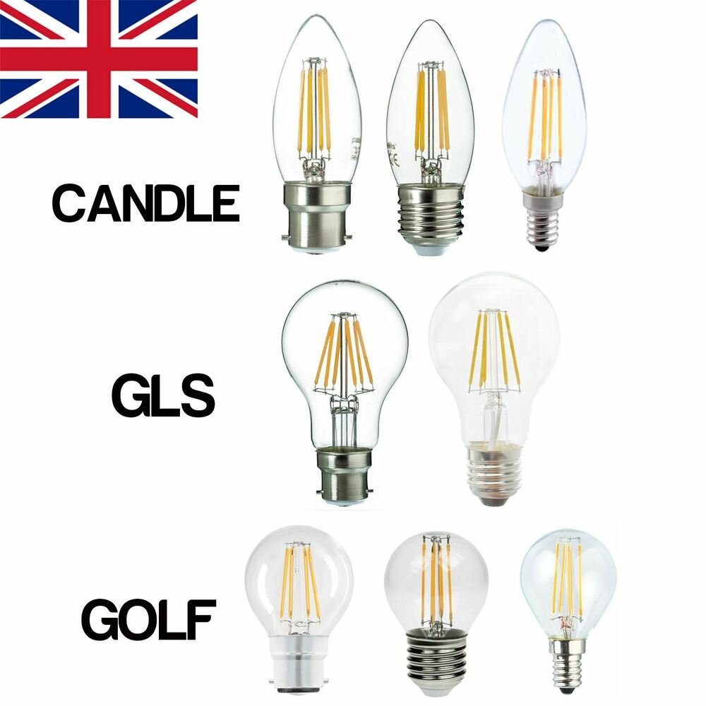b22 e14 e27 25w 40w 60w led candle gls golf filament light lamp bulbs warm white ebay. Black Bedroom Furniture Sets. Home Design Ideas