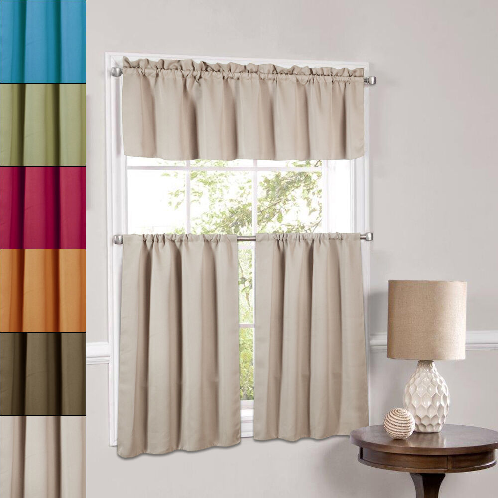 Blackout Kitchen Curtains Polyester Valance & Tiers 3