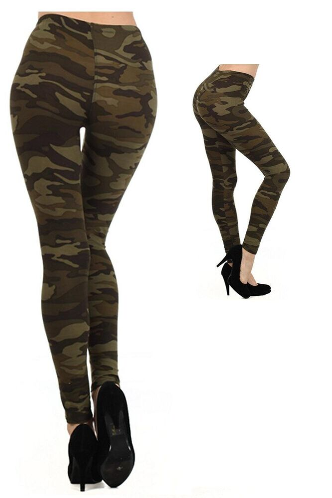 US Fashion Women's Camouflage Leggings Army Green Military ...