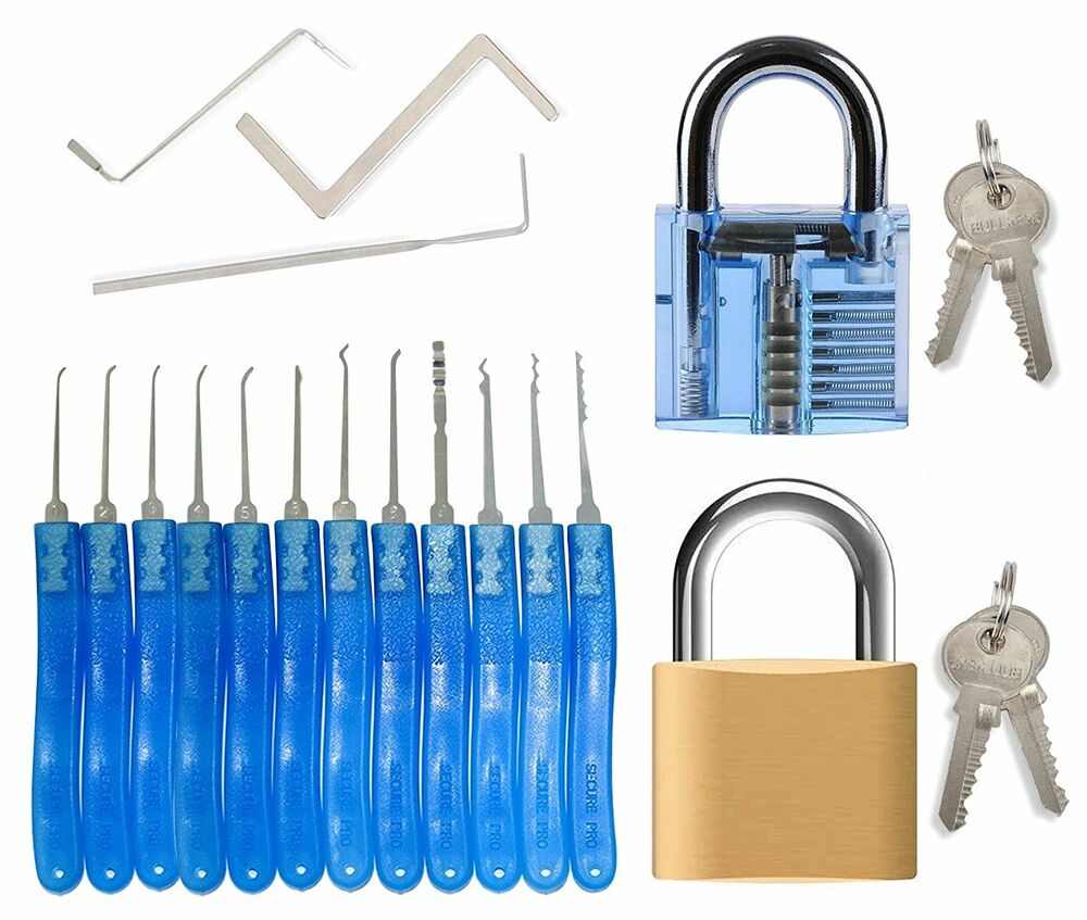 spy lock pick set for beginners professionals 15 piece locksmith picking kit ebay. Black Bedroom Furniture Sets. Home Design Ideas