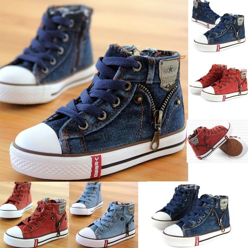 fbcc86a90e1 Details about Hot Kids Boys Girl High Top Canvas Shoes Children Casual  Fashion Sneakers Shoes