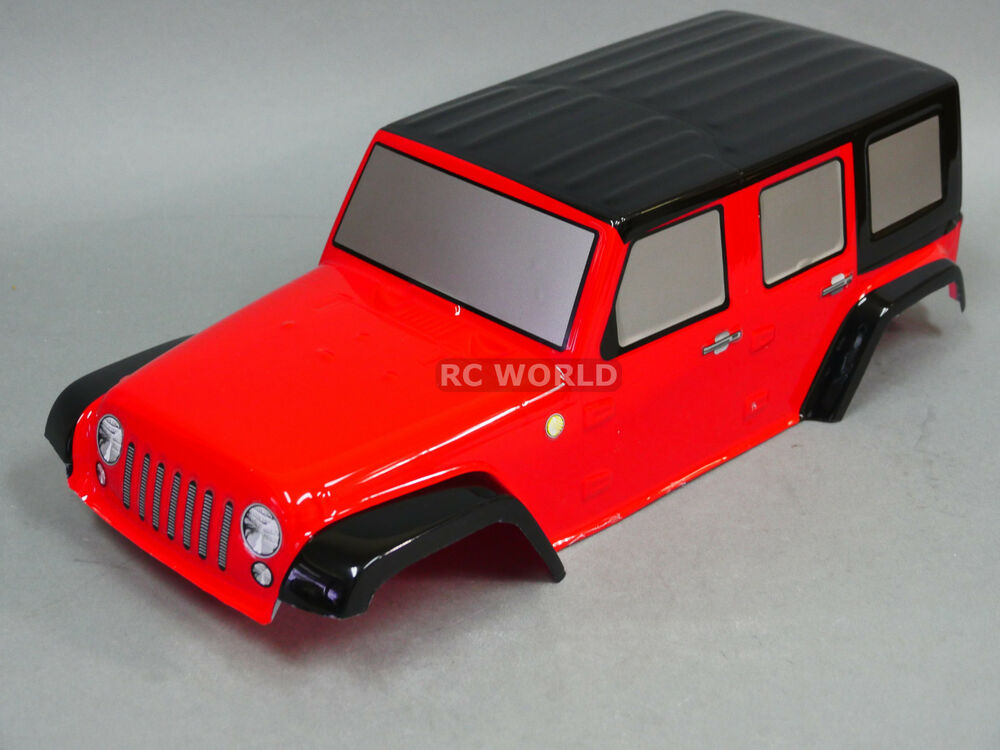 rc truck body shell 1 10 crawler jeep wrangler rubicon jeep painted red ebay. Black Bedroom Furniture Sets. Home Design Ideas
