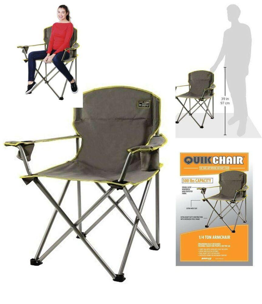 Heavy duty folding camp chair outdoor 500lbs oversized for Heavy duty lawn chairs