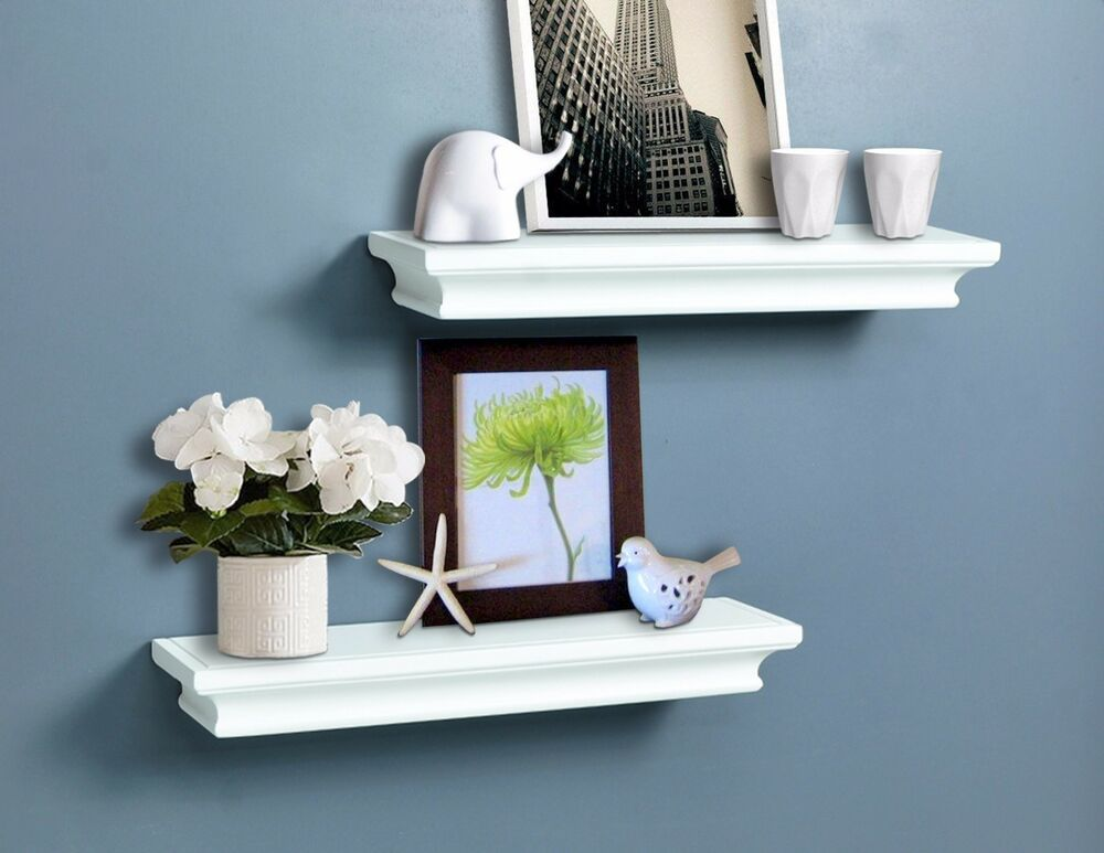decorative white wall shelves set of 2 pcs 714983955676 ebay. Black Bedroom Furniture Sets. Home Design Ideas