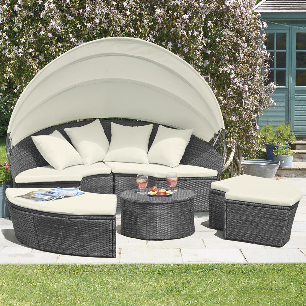 Rattan garden furniture outdoor patio daybed lounger sofa for Pool canopy bed