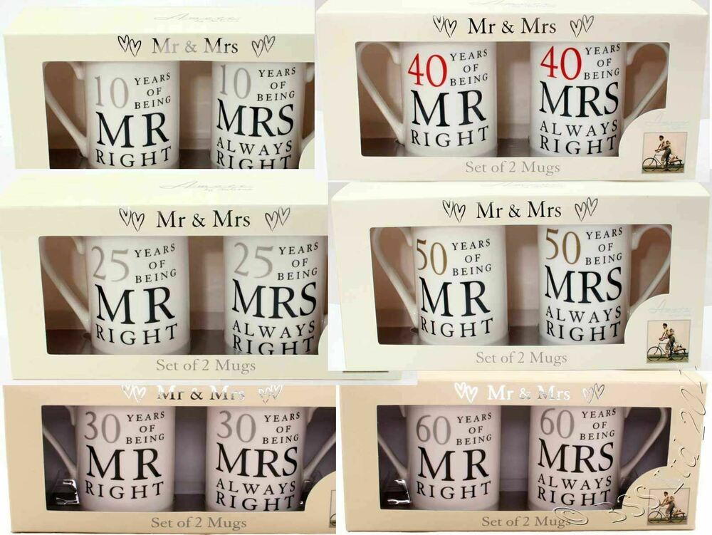 What Gift For 40th Wedding Anniversary: Wedding Anniversary Gift Set, Mr/Mrs Right Mugs 10th 25th
