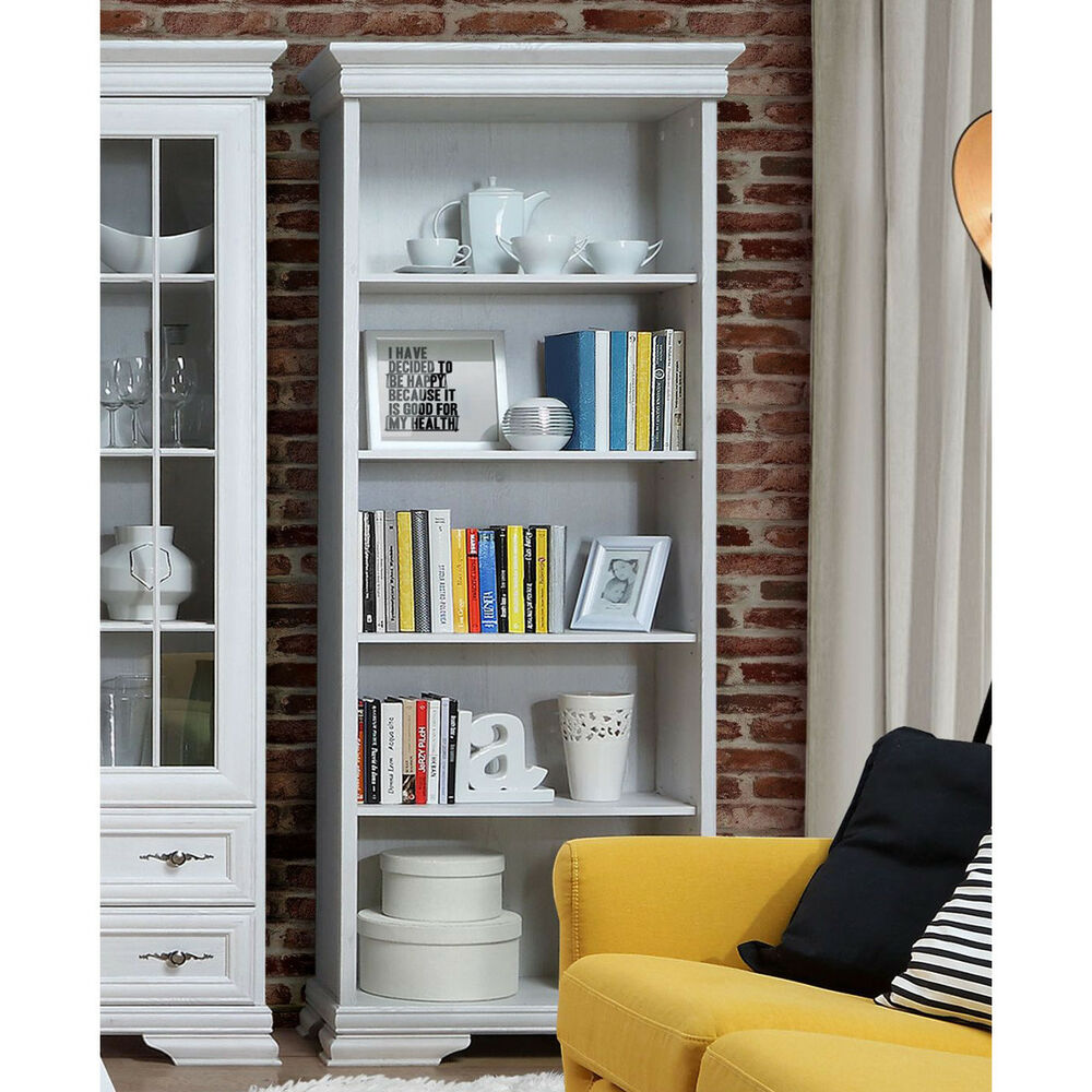 regal avinion b cherregal standregal in schnee eiche wei mit 5 offenen f chern ebay. Black Bedroom Furniture Sets. Home Design Ideas