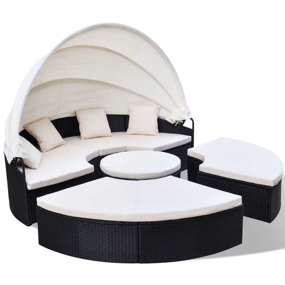 outdoor rattan patio sofa sun bed set retractable canopy daybed round 91 black ebay. Black Bedroom Furniture Sets. Home Design Ideas