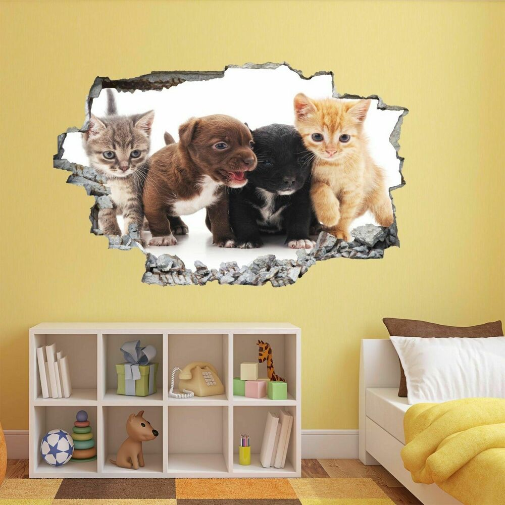 Puppies Kittens Cats Dogs Animal Wall Sticker Mural Decal Kids Room ...