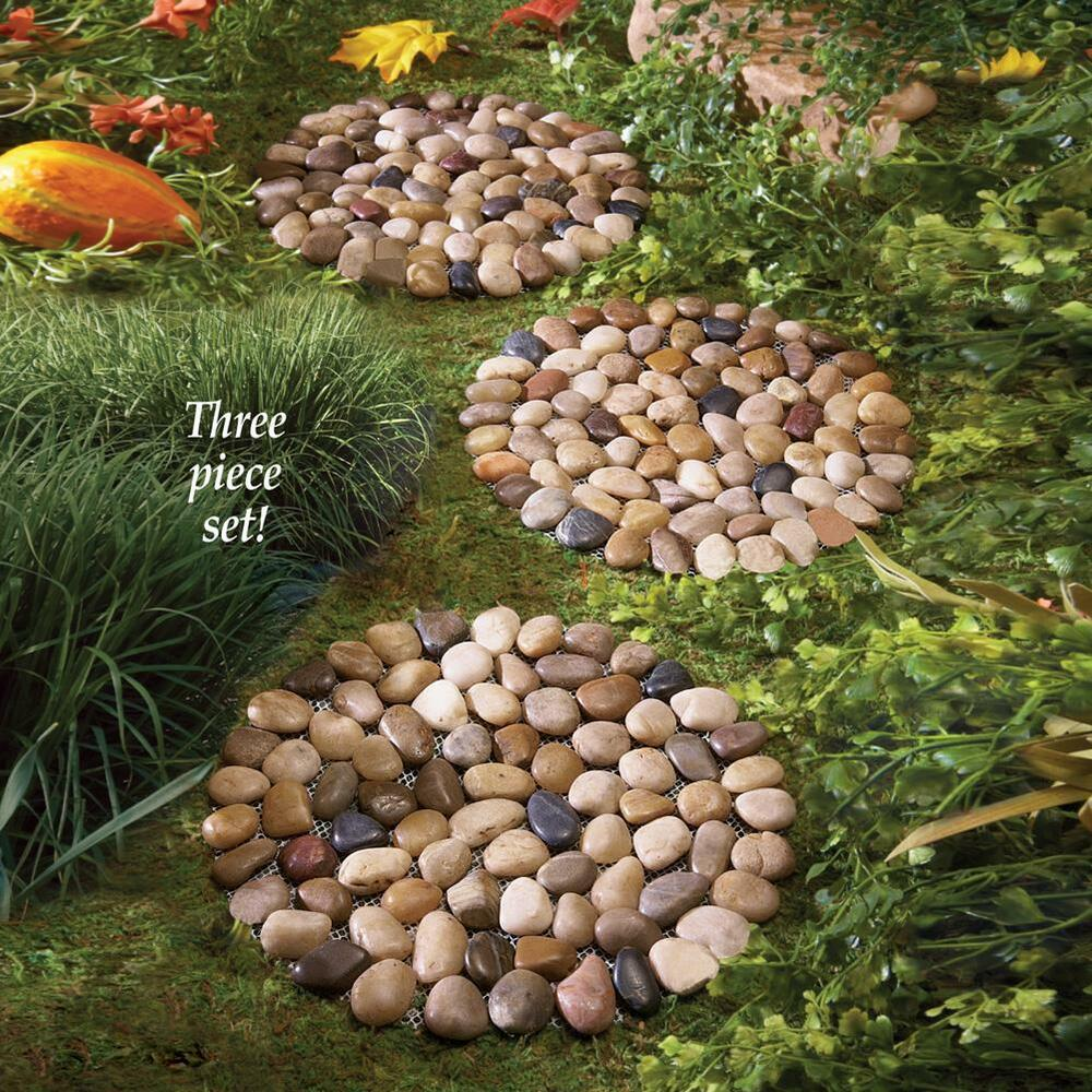 Set of 3 decorative use river rock stepping stones can be for Rock stepping stones landscaping