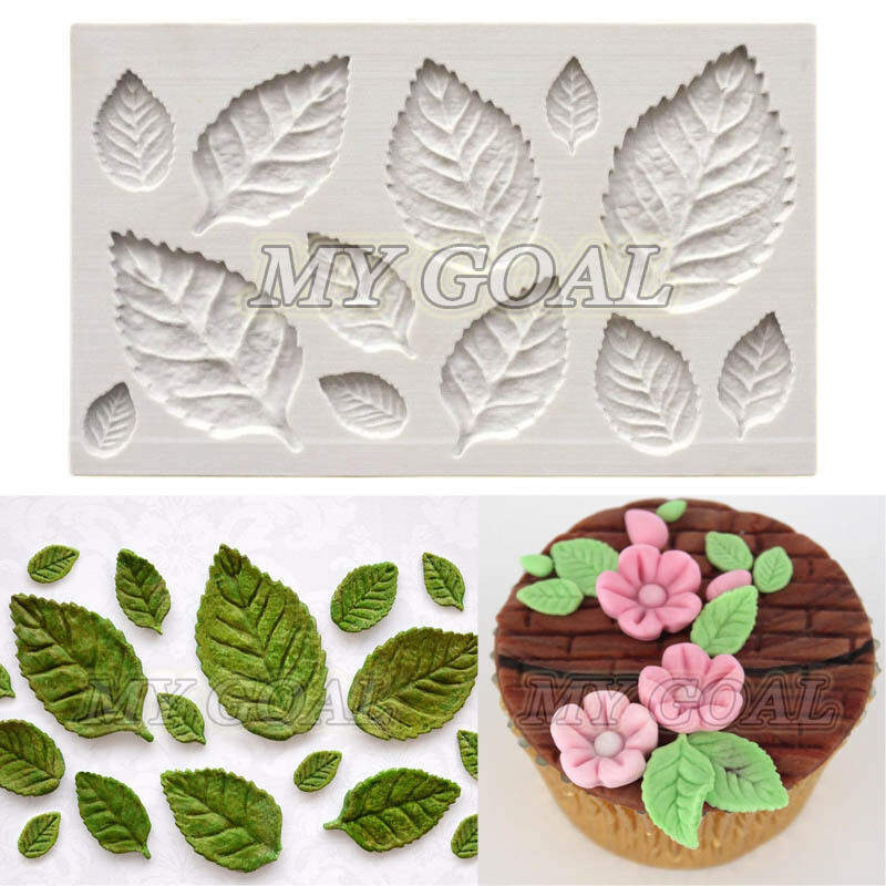 Cake Decorating How To Make Leaves : Rose Leaves Embellisment Silicone Fondant Mould Cake Decor ...