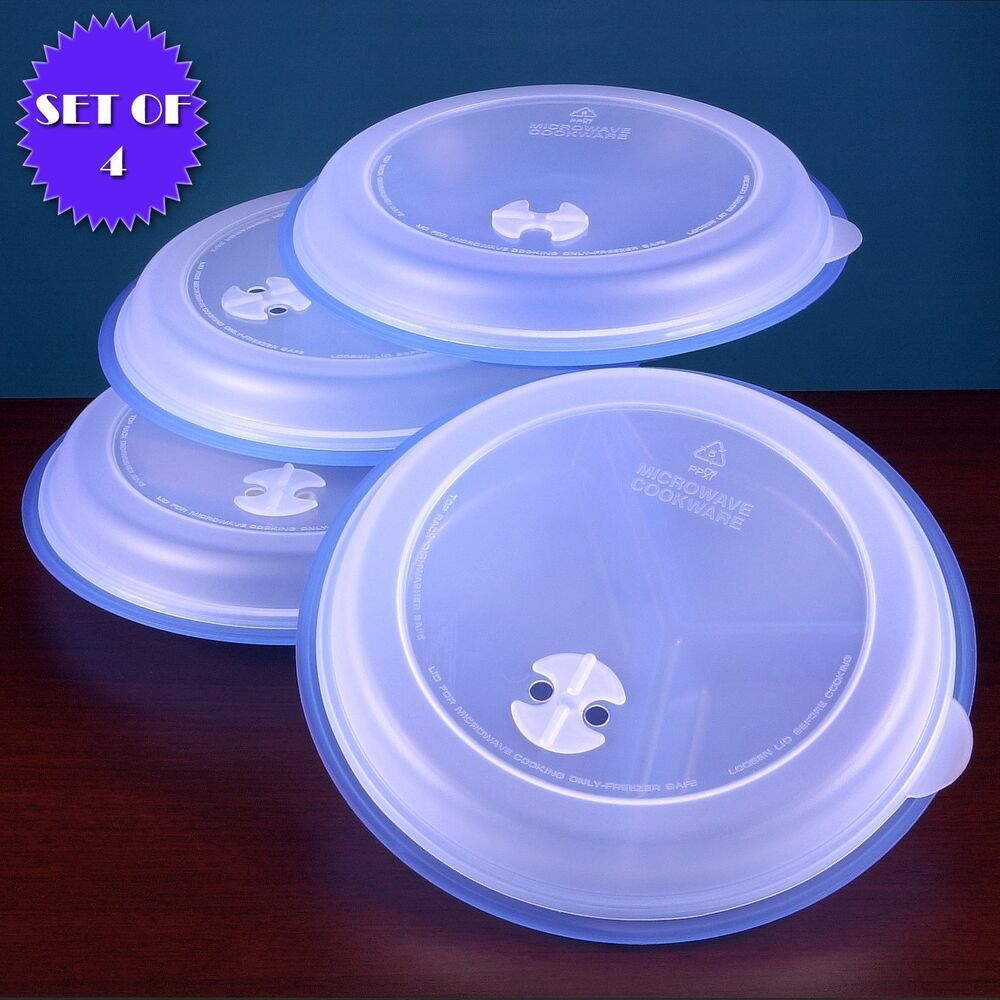 MICROWAVE DIVIDED PLATES WITH VENTED LIDS - (SET OF 4 BLUE