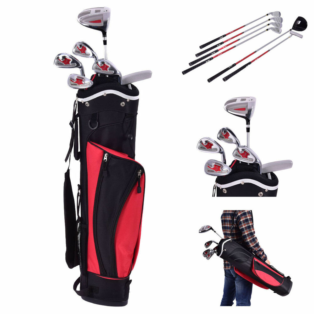 new 6 piece golf club set for kids wood iron putter w stand bag age 11 13 red ebay. Black Bedroom Furniture Sets. Home Design Ideas