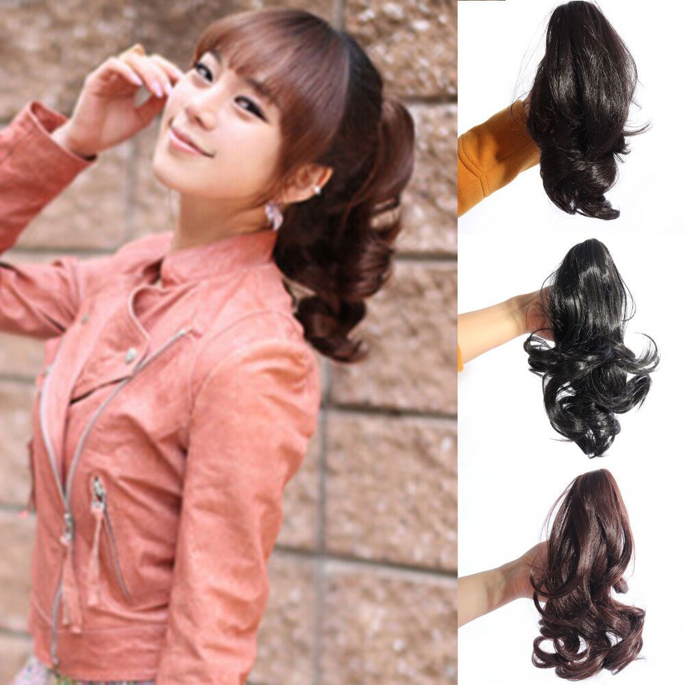 Women Lady Hairpiece Short Wavy Curly Claw Hair Ponytail