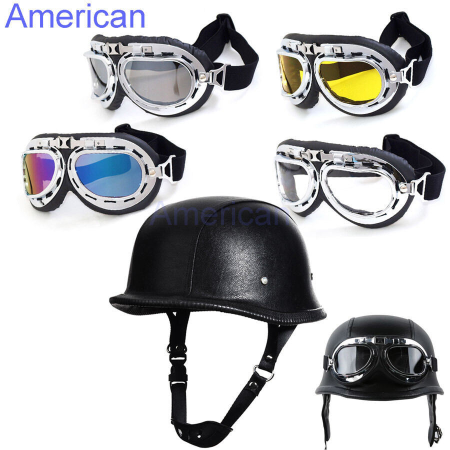 motorcycle german style black leather half helmet w pilot goggles new chopper ebay. Black Bedroom Furniture Sets. Home Design Ideas