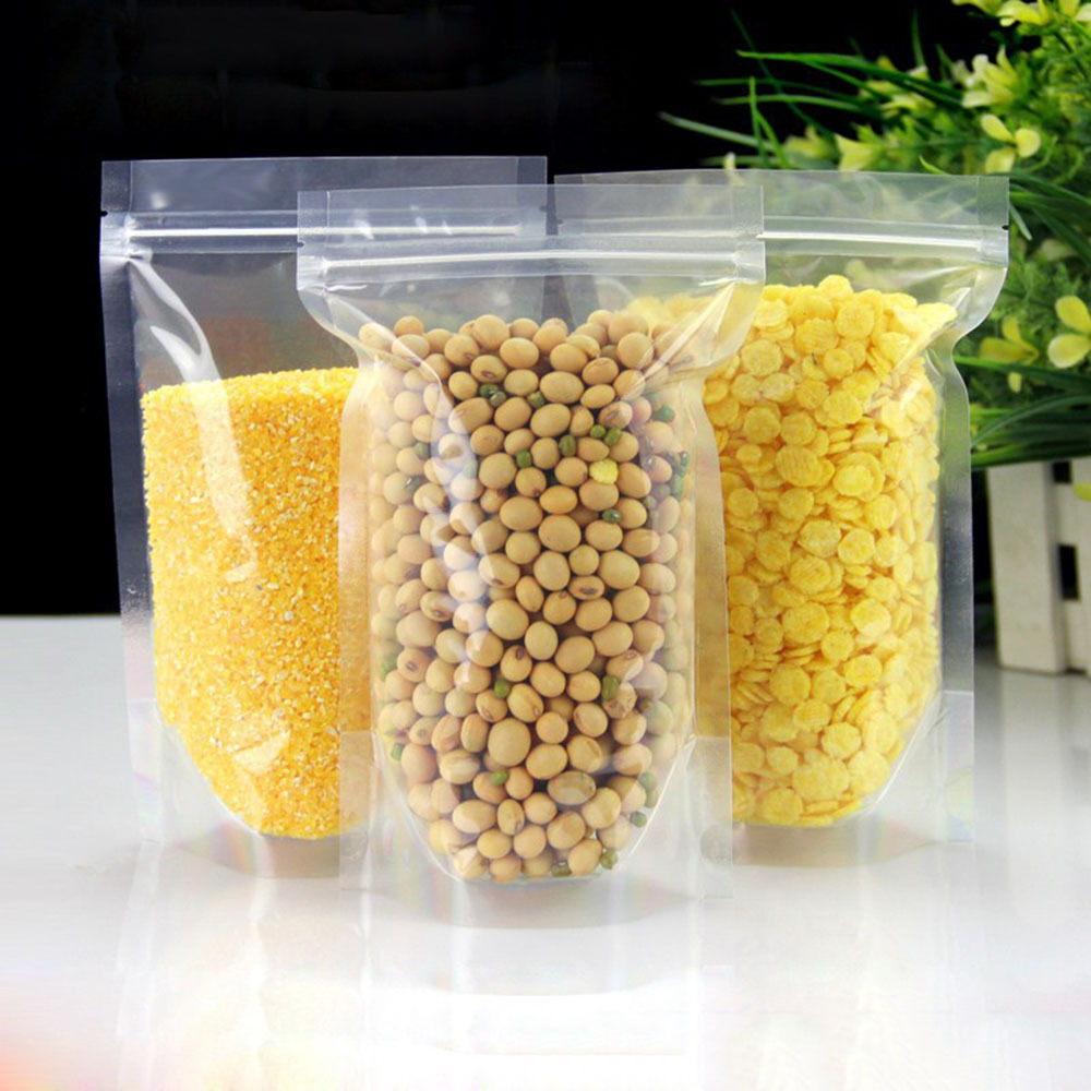 Clear Stand Up Zip Lock Bags Plastic Pouches Food Storage