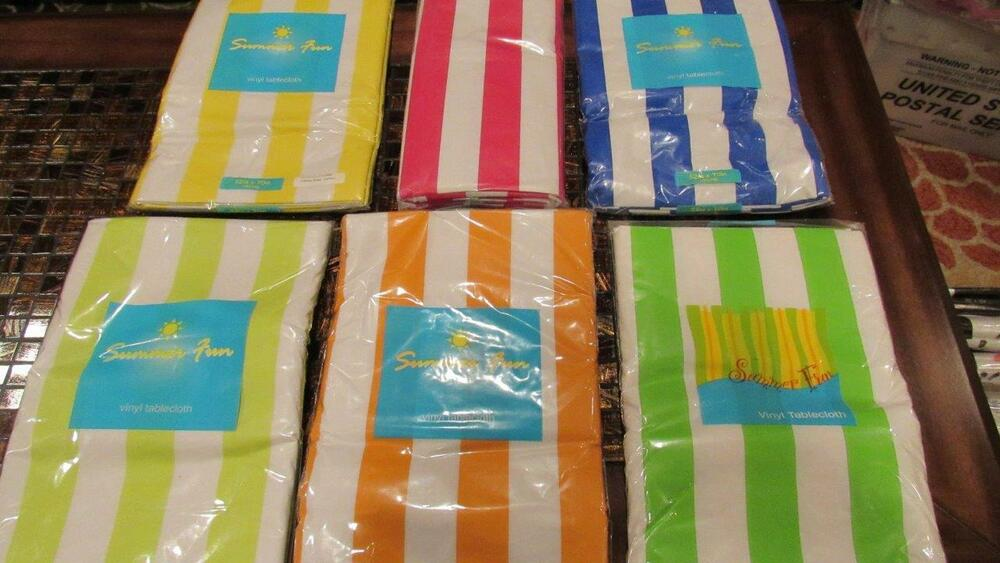 Vinyl Tablecloth Flannel Back Cabana Stripe Varied 6 ...
