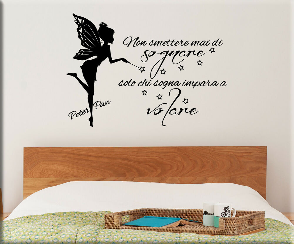 Adesivi murali frase peter pan wall stickers bambini tattoo camerette ws1217 ebay - Wall stickers camerette ...