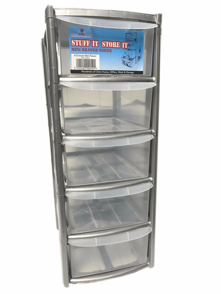 5 Drawer Silver Tower Unit Plastic Drawers Storage